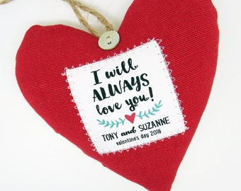 Personalised Valentines Gift - Scented Fabric Heart - Gift Boxed - Choice of Fabric - Made in the UK - Romantic Present