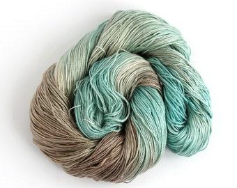 Hand dyed 4ply silk seacell yarn, aqua beige variegated skein luxury fingering knitting crochet yarn, Perran Yarns Ripples In The Sand, uk