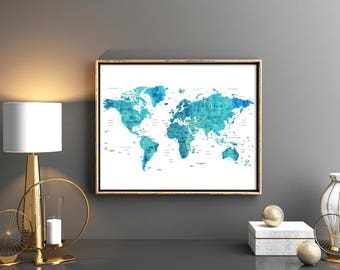 World map country etsy world map download world map printable with countries names and boarders map of the world blue gumiabroncs Gallery