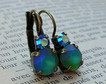 Swarovski ss39 Fern Green Pastel and ss19 Sapphire AB Duet earrings