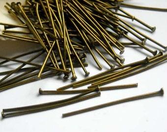100 Antique Bronze Head Pins - 15-10