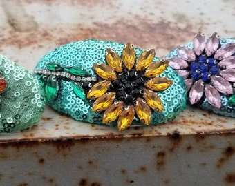 Flower sequin glittery hair barrette for women, party hair accessory, thick hair clip, pin up your hair, 3 colors to choose from