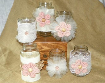 Centerpieces ~ PINK Burlap, Linen and Lace Jars, Set of 6 Different Jars, Add Fresh Cut Flowers for Centerpieces, Showers, Birthday, Wedding