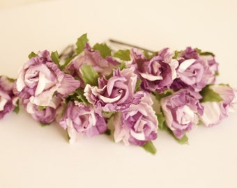 Bridal Hair Accessories, Lavender Rose, Lilac flower Hair Bobby Pin- set 12