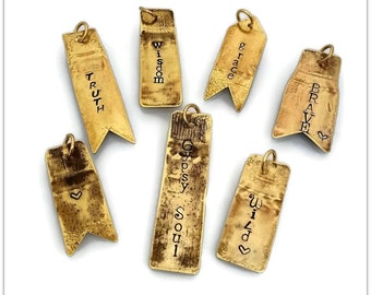 Word Charms, Upcycled Bullets, Rustic Brass, Accent Tags, Hand Stamped, Personalized Pendants, Fired Bullet Jewelry, Boho Charms Gun Shooter
