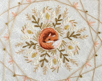 DIY Sleeping Fox mandala dream catcher Embroidery Pattern PDF download hand embroidery patterns designs