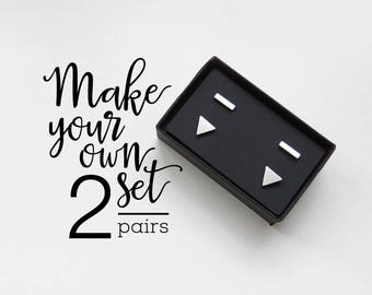 Set of 2 stud earrings / hypoallergenic earrings / geometric earrings / surgical steel studs / gift for her