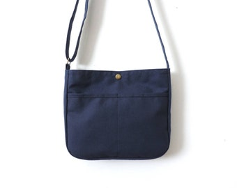 Small Canvas Crossbody Bag Purse Blue