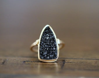 Druzy Triangle Ring ,  Black Bohemian Cocktail Ring in Gold , Silver , Rose Gold , Large Bezel Wrapped Stone - Insignia  ( Eclipse )