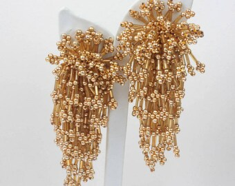 Gold Beaded Dangle Earrings Bold Statement Clip On Shoulder Dusters Vintage