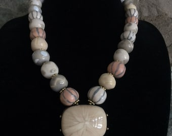 Stunning Artistic Pendant and Beaded Necklace with Soft Pastel Colors of Sand
