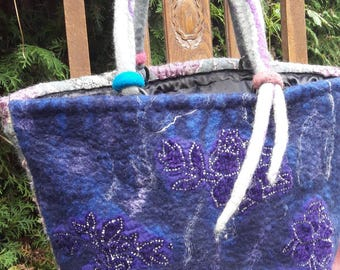 Double sided wet felted womens bag