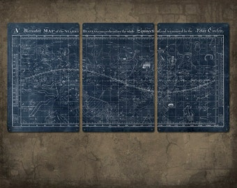 """Vintage Map of the Universe on METAL triptych 48x24""""  FREE SHIPPING"""