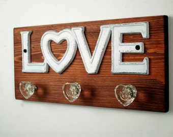 LOVE wall decor, kids room decor, bathroom decor, home decor, jewelry organizer, bedroom decor,