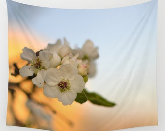 Wall Tapestry, Sunrise Images, Pear Tree Flower, Pretty Photos, Nature Photography, Spring Tree Picture, Indoor Tapestry, Outdoor Art