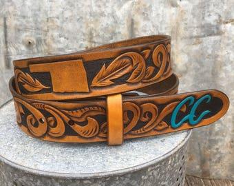 Personalized Belts, Custom Leather Belts, Leather Belts, Tooled Leather Belts