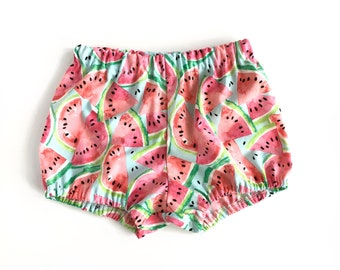 watermelon bloomers on blue - baby toddler girl bloomers