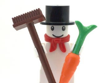 Snowman Minifigure with Top Hat, Broom and Carrot. Made From LEGO Parts