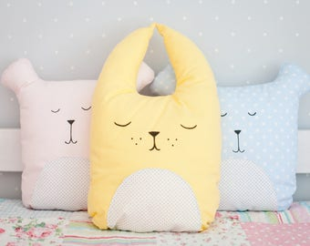 Sweet dreams pillow Sleeping soft bunny Nursery decor Bunny pillow Fanny pillow Cushion Pillow Hare Kids gift idea Kids decor Baby bedding