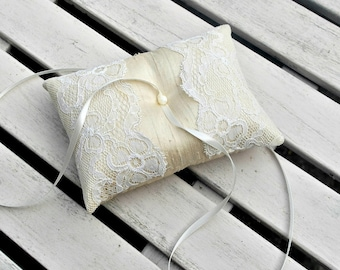 Wedding Ring bearer Pillow/Cushion in Champagne Raw  Silk With a Strip of ivory antique lace
