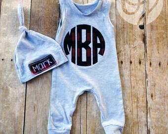 Buffalo Plaid Monogram Sleeveless Romper - Personalized Knot Hat - Infant -  Sleeper and Hat - Baby Shower