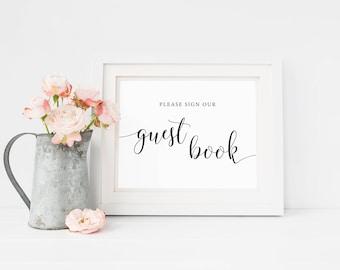 Rustic Wedding GuestBook Sign Printable,  Please Sign Our Guest book Sign, Guestbook Printable, Rustic Wedding Sign In, Reception Decor