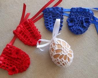 Crochet Easter Egg Cover, Set of 5 Hand Crocheted Easter Eggs Easter Decoration Blue Red White
