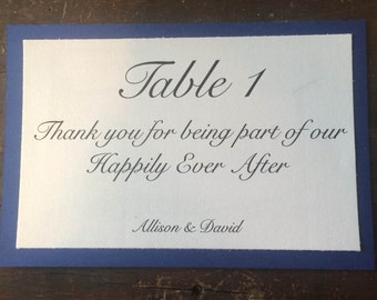 Wedding Table Card Numbers - Romantic Thank You