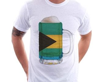 Bahamas Country Flag Beer Mug Tee, Home Tee, Country Pride, Country Tee, Beer Tee, Beer T-Shirt, Beer Thinkers, Beer Lovers Tee, Fun Tee