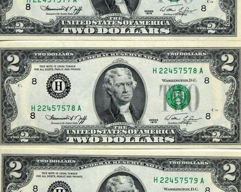 Vintage Currency 1976C Uncirculated 2 Federal Reserve Notes, Series C Sequential Serial Numbers - Lot of 3   7577A