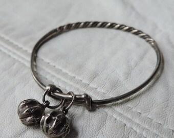 baby bracelet sterling silver bells antique baby bangle