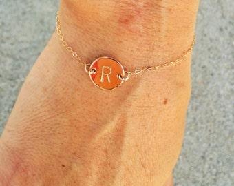 Gold Fill Monogram Bracelet, Initial Bracelet