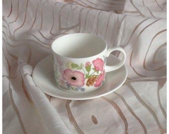 Wedgwood Bone China Tea/Coffee Cup & Saucer, Meadow Sweet, Multicoloured Flowers