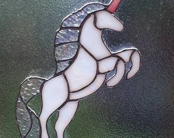 Stained glass unicorn suncatcher sun catcher mythical creature shimmer iridescent opalescent