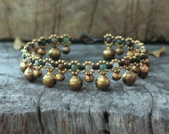 Fancy Jasper Indian Agate Brass Bell Anklet/ Bracelet