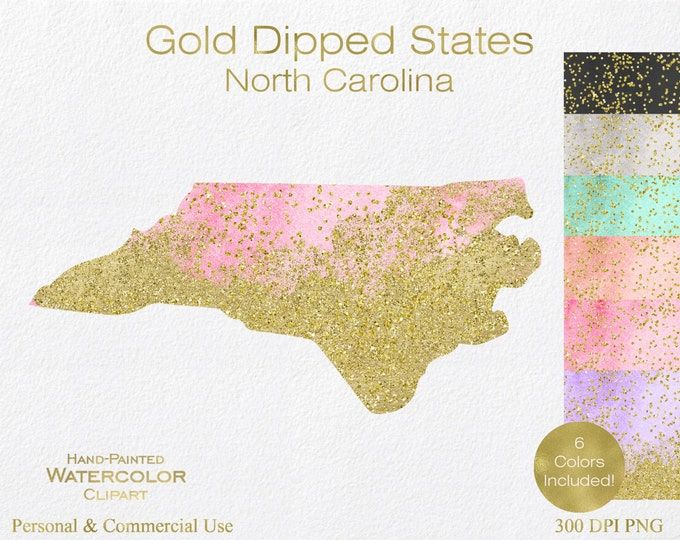 WATERCOLOR & GOLD North Carolina Clipart Commercial Use Clipart United States Wedding Clipart Gold Confetti Dust North Carolina Clip Art