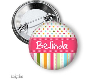 Candy stripe pinback button badge or fridge magnet