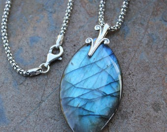 Dragon Stone Necklace- Large Labradorite marquis pendant on a unique sterling silver popcorn chain - one of a kind OOAK - free shipping USA