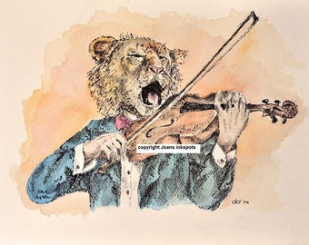 Pendrawing lion playing the violin