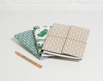 100% recycled tropical and geometric design a5 notebook