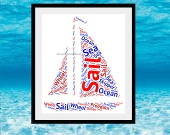 Sailboat Word Art, Personalised Sailboat Print, Boat Word Art, Personalised Boat Print, Boat Word Cloud, Sailboat Word Collage, Boat Gift