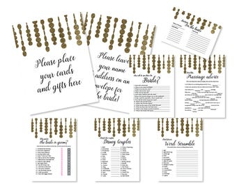 Beige Glitter Bridal Shower Packet