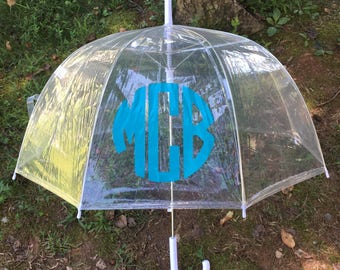 Monogrammed Clear Umbrella // Personalized Umbrella // Monogrammed Clear Dome Umbrella // Bridal Gift // Easter Gift // Anniversary Gift