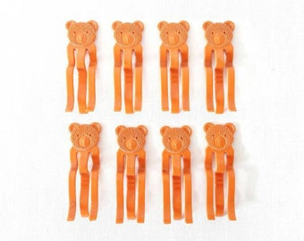 Vintage Clothes Pins Plastic Bears in Orange Lot of 8