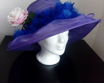 Ladies hat. Organza Fabric. Feathers and Flower. Spring Summer 2018
