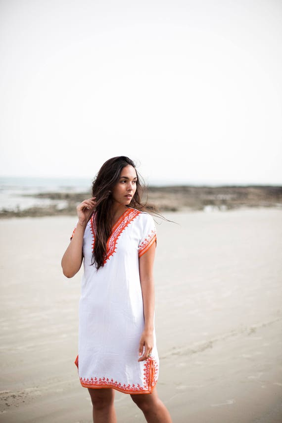 White with Orange Tunic Dress Summer Dress -Lena Style-women's dresses, bohemian, resortwear, holiday wear, gifts, beach wear, bohemian