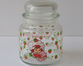 Vintage 80s STRAWBERRY SHORTCAKE Glass Jar