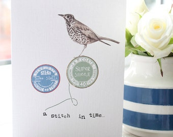 A stitch in time greetings card