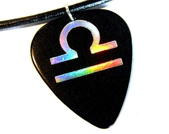 Libra Sign Guitar Pick Necklace, black and holo silver