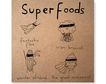 Superfood Illustrated Greeting Card, Handmade Healthy Eating Super Food Card, Super Hero Card, Croissant Birthday Card